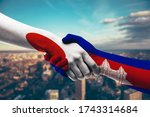 shaking hands japan and...   Shutterstock . vector #1743314684