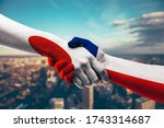 shaking hands japan and chile   Shutterstock . vector #1743314687