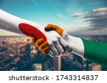 shaking hands japan and cote d...   Shutterstock . vector #1743314837