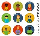 men or women expressing various ... | Shutterstock .eps vector #1743354347
