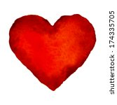 Red Watercolor Heart  Raster...