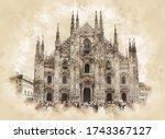 Milan Cathedral Sketch Drawing. ...