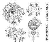 set of four tattoo sketch with... | Shutterstock .eps vector #1743385871