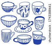 collection of modern ceramic ... | Shutterstock .eps vector #1743388661