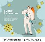 disinfectant worker wear... | Shutterstock .eps vector #1743407651