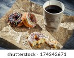 Lunch with coffee and donuts - stock photo