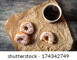 Donuts and coffee background - stock photo