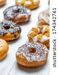 Group of colored glazed donuts - stock photo