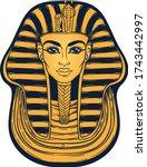 king tutankhamun mask  ancient... | Shutterstock .eps vector #1743442997