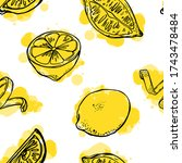 lemon seamless and abstract...   Shutterstock .eps vector #1743478484