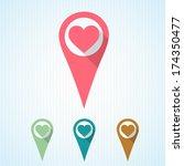 flat heart on marker.vector... | Shutterstock .eps vector #174350477