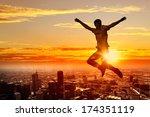 silhouette of dancer jumping... | Shutterstock . vector #174351119