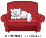 Stock vector illustration of a cat sleeping soundly at the chair on a white background 174351527