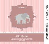 baby shower card  for baby girl ... | Shutterstock .eps vector #174352709