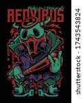 red bull virus illistration ... | Shutterstock .eps vector #1743543824