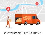 fast delivery order service and ... | Shutterstock .eps vector #1743548927