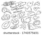 meat and chicken products.... | Shutterstock .eps vector #1743575651