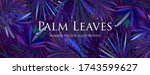 tropical palm leaves with rain... | Shutterstock .eps vector #1743599627