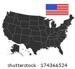 map of usa in black color....