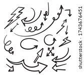 hand drawn doodle arrow... | Shutterstock .eps vector #1743676451