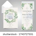 greenery wedding invitation...   Shutterstock .eps vector #1743727331