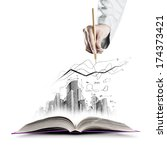 opened book and hand drawing... | Shutterstock . vector #174373421