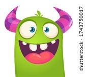 funny cartoon monster creature. ... | Shutterstock .eps vector #1743750017
