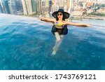 young woman in a roof top... | Shutterstock . vector #1743769121