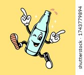 weekend call cartoon bottle... | Shutterstock . vector #1743779894