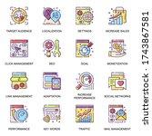 seo flat icons set. link...