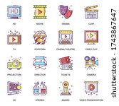 cinema entertainment flat icons ...