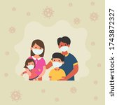 the family wore face masks to... | Shutterstock .eps vector #1743872327