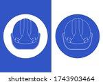 blue safety helmet. isolated on ... | Shutterstock .eps vector #1743903464