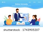 a group of students study at...   Shutterstock .eps vector #1743905207