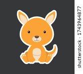 Sticker Of Cute Baby Kangaroo...