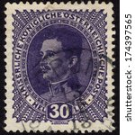 Small photo of AUSTRIA - CA. 1917: Austrian postage stamp showing the last emperor of Austria, Charles I, who ruled between 1916-1918 when he was forced to abdicate