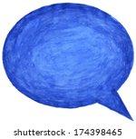 blue watercolor empty speech... | Shutterstock . vector #174398465