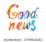 good news. vector words of... | Shutterstock .eps vector #1744016261