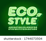 vector green eco style font.... | Shutterstock .eps vector #1744073504