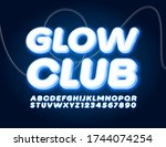 vector electric sign glow club... | Shutterstock .eps vector #1744074254