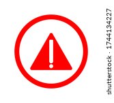 warning attention icon. flat... | Shutterstock .eps vector #1744134227