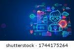 kid programmer learn coding on... | Shutterstock .eps vector #1744175264