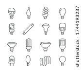 light bulb related icons  thin... | Shutterstock .eps vector #1744193237