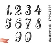 vector set of vintage numbers | Shutterstock .eps vector #174419999