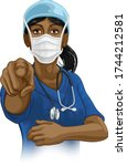 a woman nurse or doctor in...   Shutterstock .eps vector #1744212581