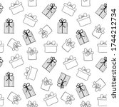 doodle gift boxes seamless... | Shutterstock . vector #1744212734