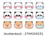 cute face animal various mood... | Shutterstock .eps vector #1744243151