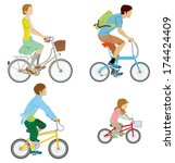 various people riding bicycle ... | Shutterstock .eps vector #174424409