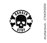 danger grunge ink stamp vector | Shutterstock .eps vector #1744292054