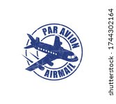 airmail par avion grunge ink... | Shutterstock .eps vector #1744302164